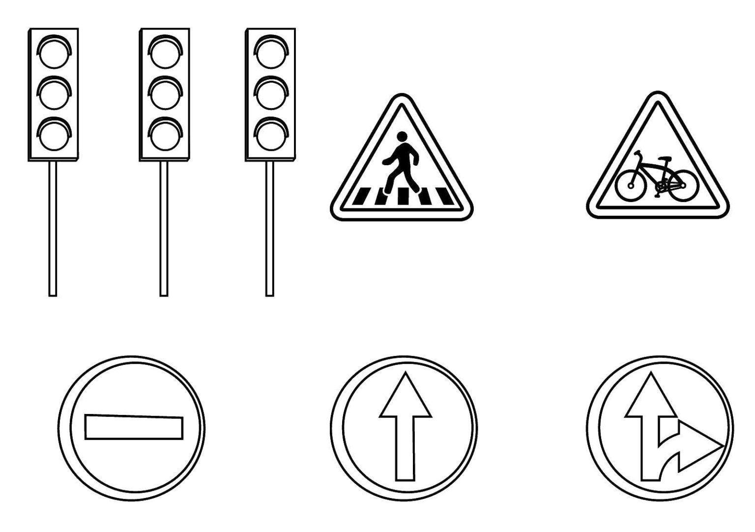 Tranh tô màu đèn và những biển báo giao thông quen thuộc
