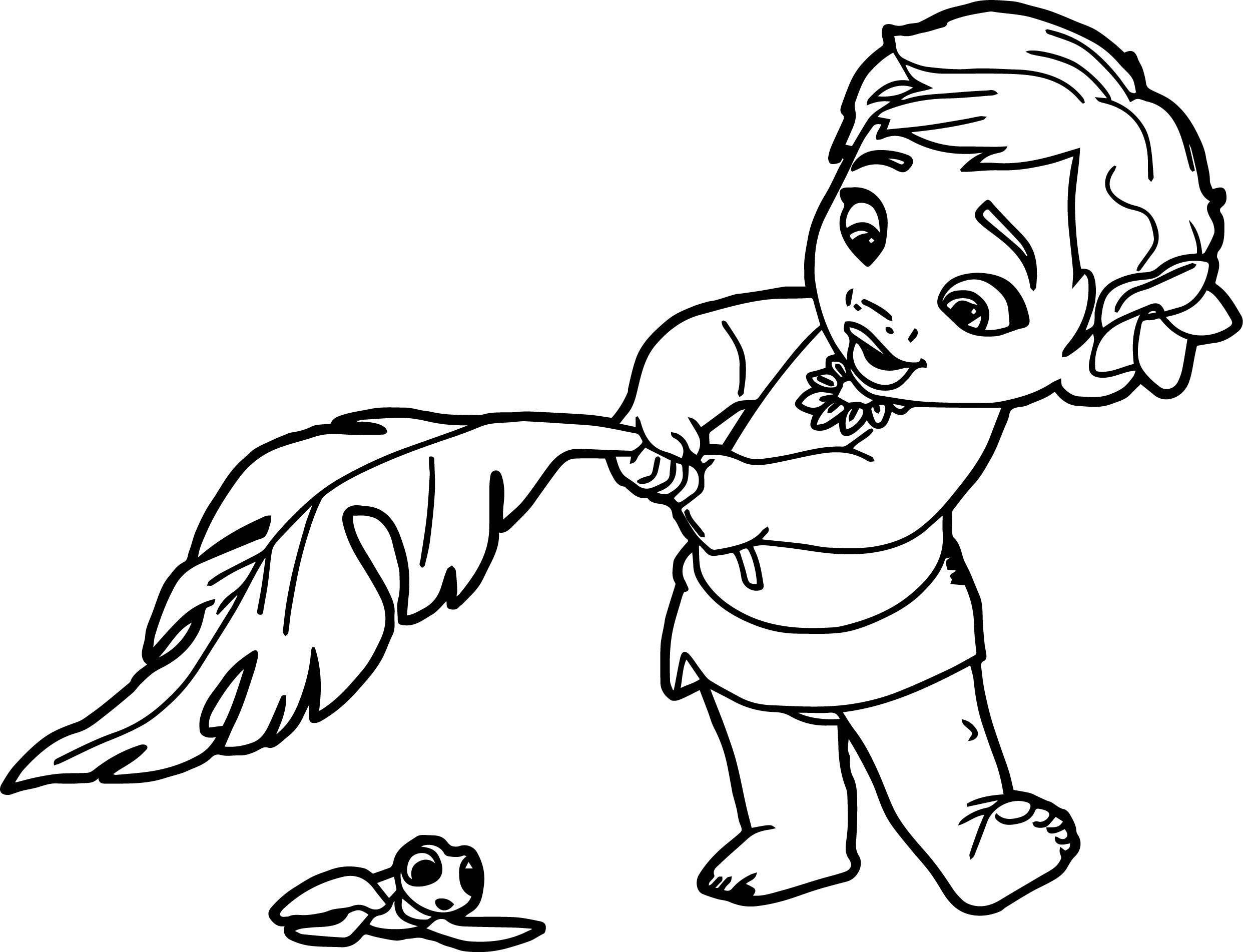 Tranh tô màu em bé Moana