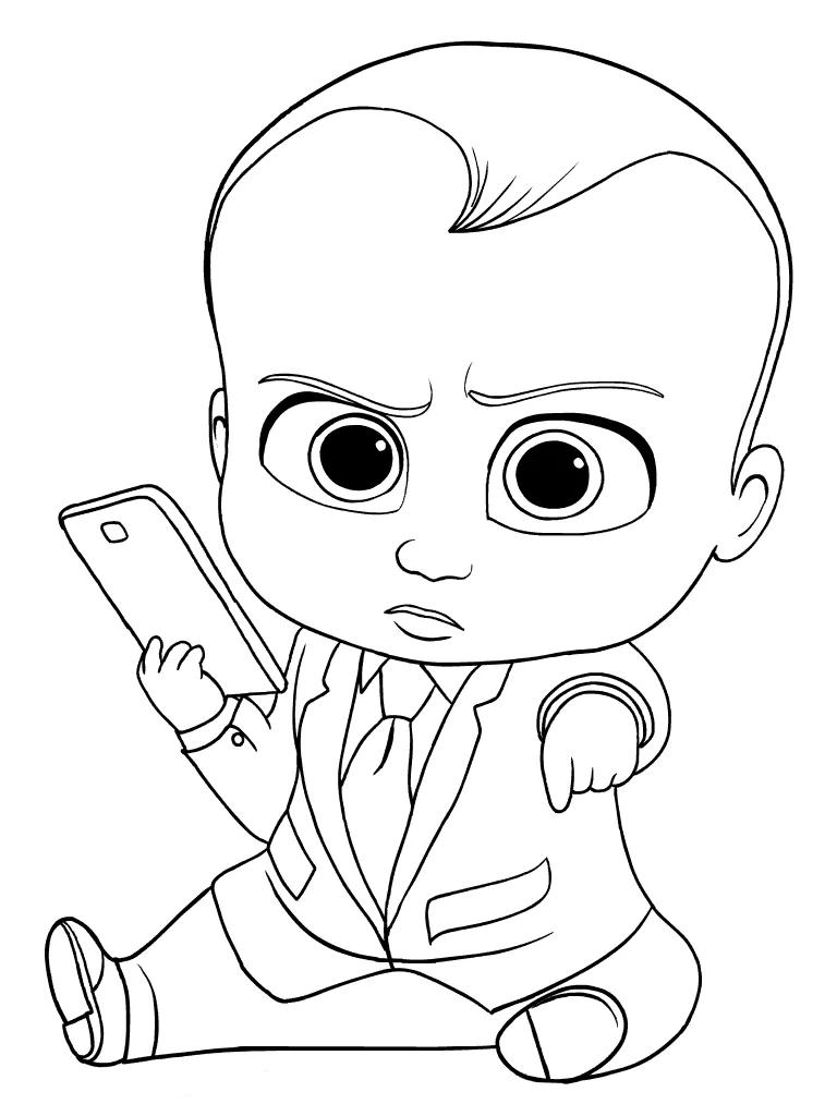 Tranh tô màu em bé nghịch điện thoại