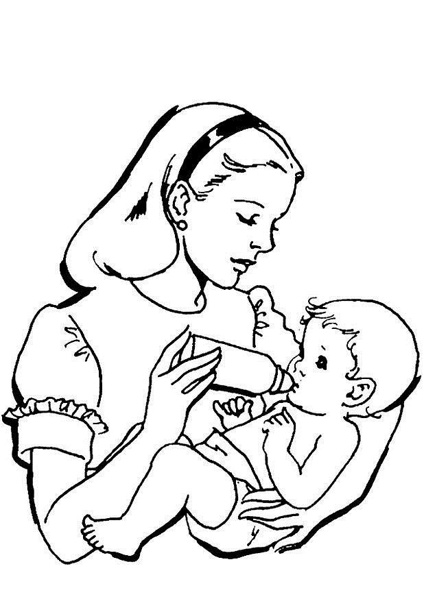 Tranh tô màu em bé trong vòng tay mẹ