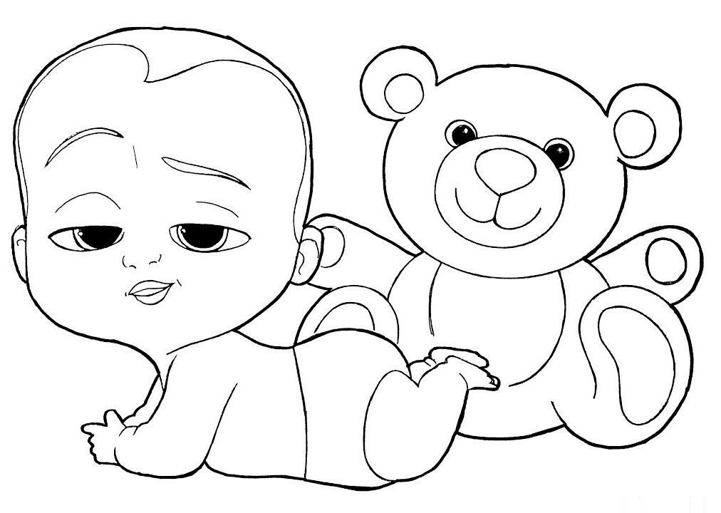 Tranh tô màu em bé và gấu Teddy