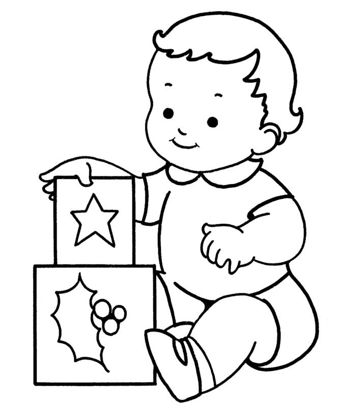 Tranh tô màu em bé xếp hình