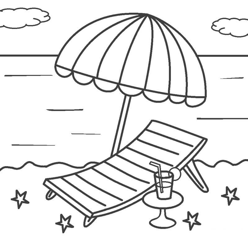 Tranh tô màu ghế và ô trên bãi biển
