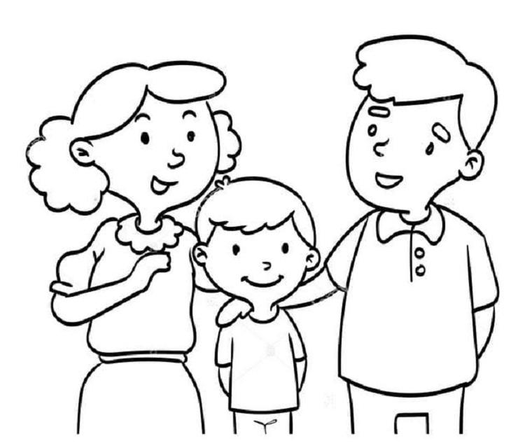 Tranh tô màu gia đình ngày Tết vui vẻ, hạnh phúc