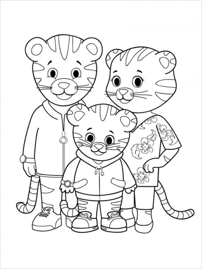 Tranh tô màu gia đình nhà hổ