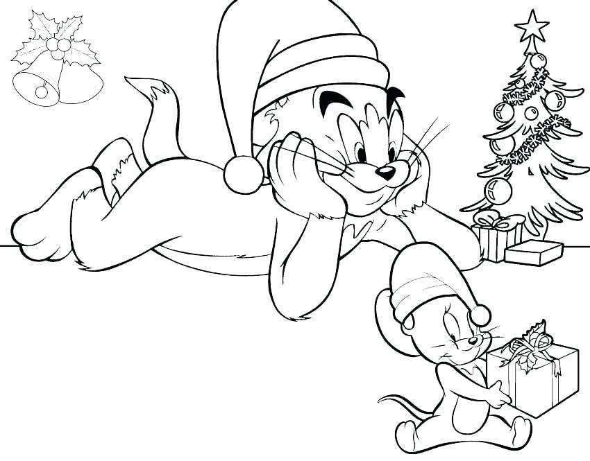Tranh tô màu giáng sinh với Tom và Jerry