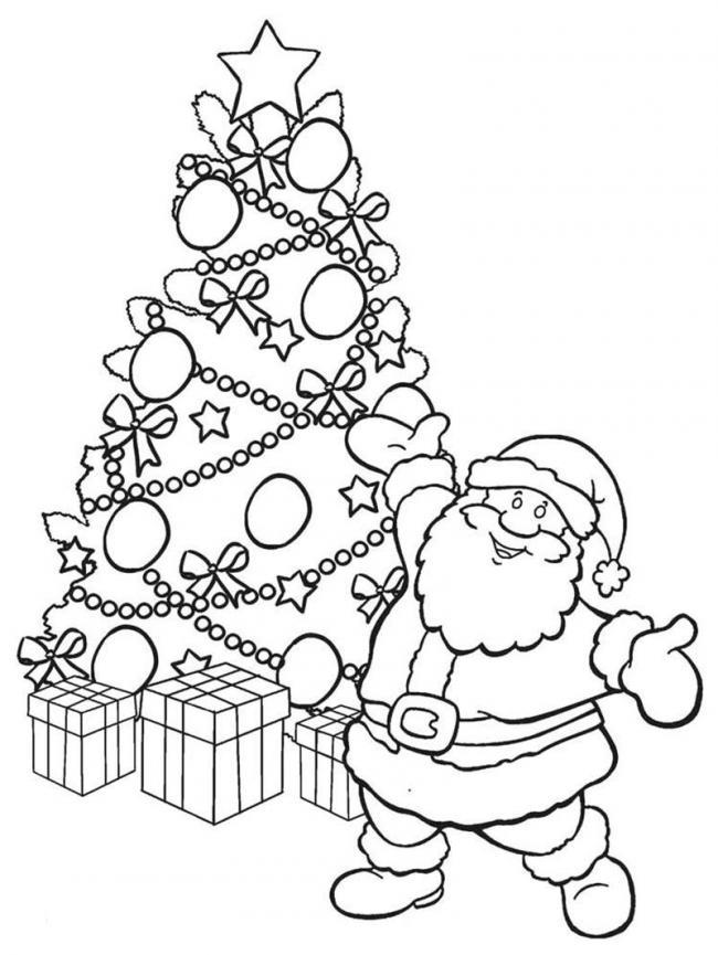 Tranh tô màu hình ông già Noel và cây thông