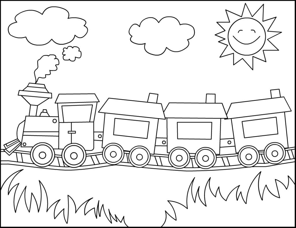 Tranh tô màu hình xe lửa dễ thương