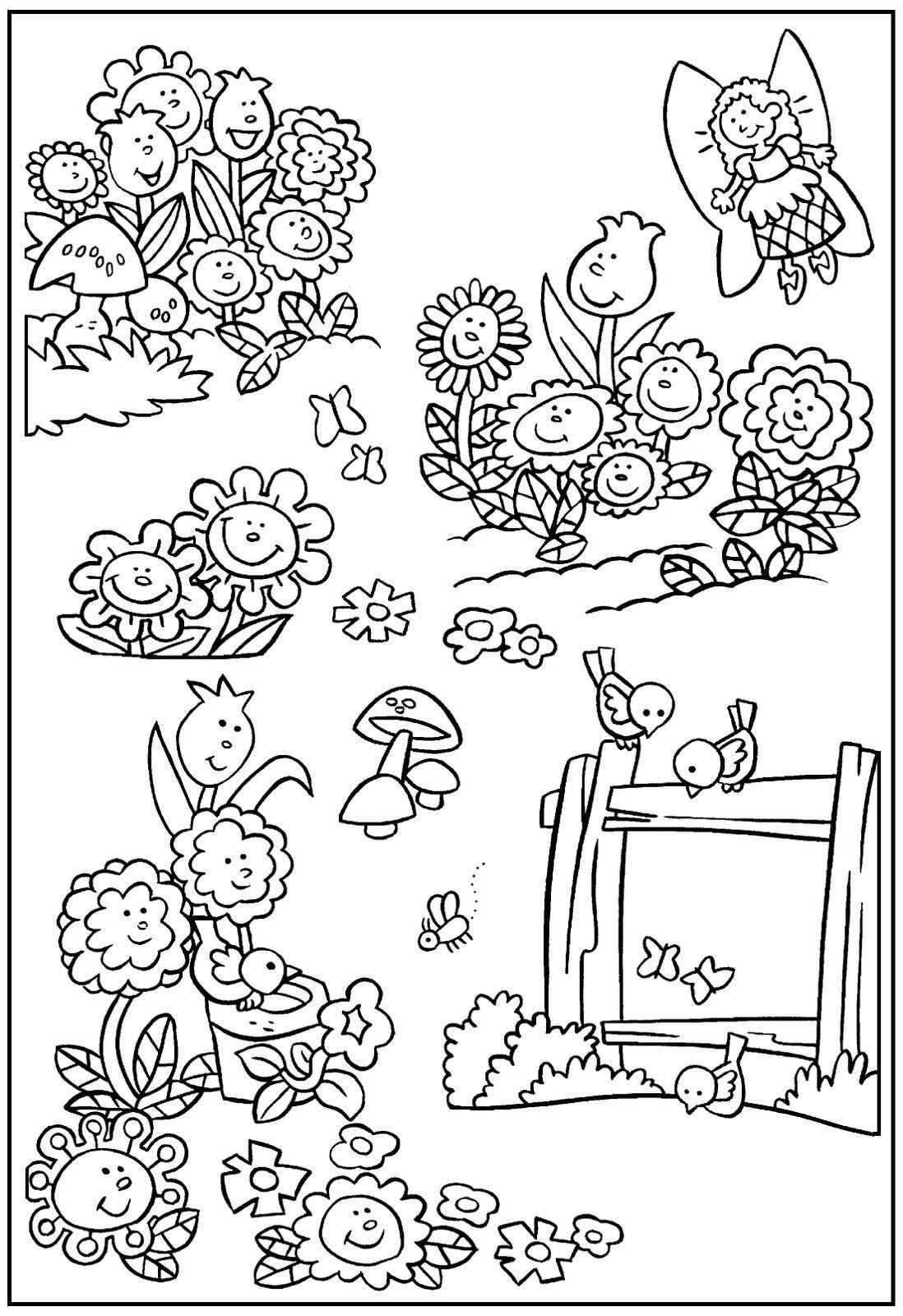 Tranh tô màu khu vườn mùa xuân