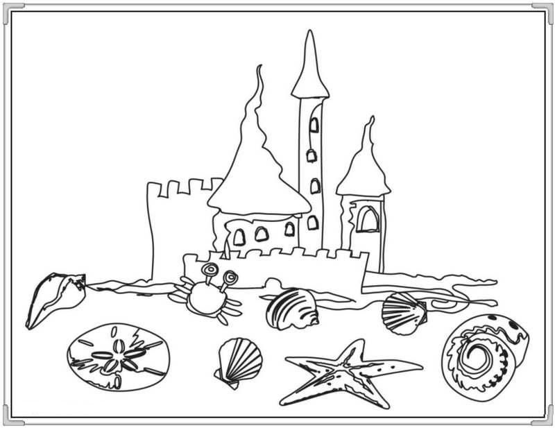 Tranh tô màu lâu đài cát