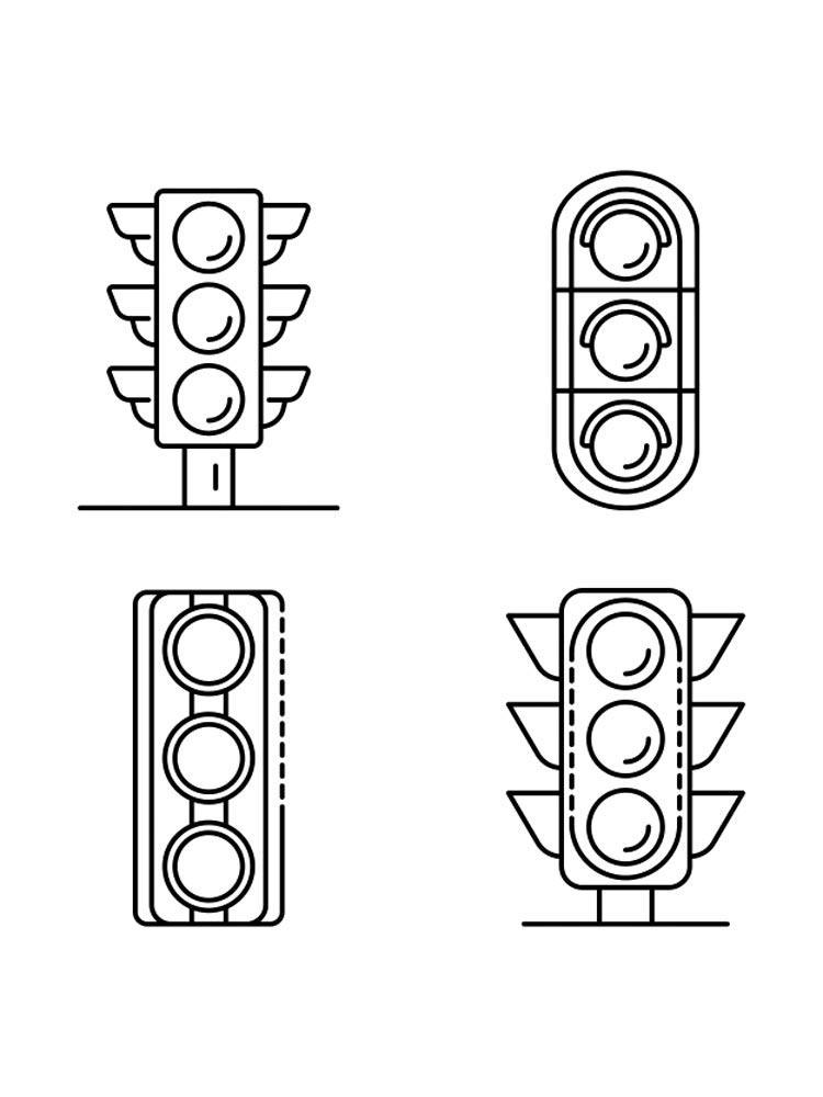 Tranh tô màu một số kiểu dáng đèn giao thông