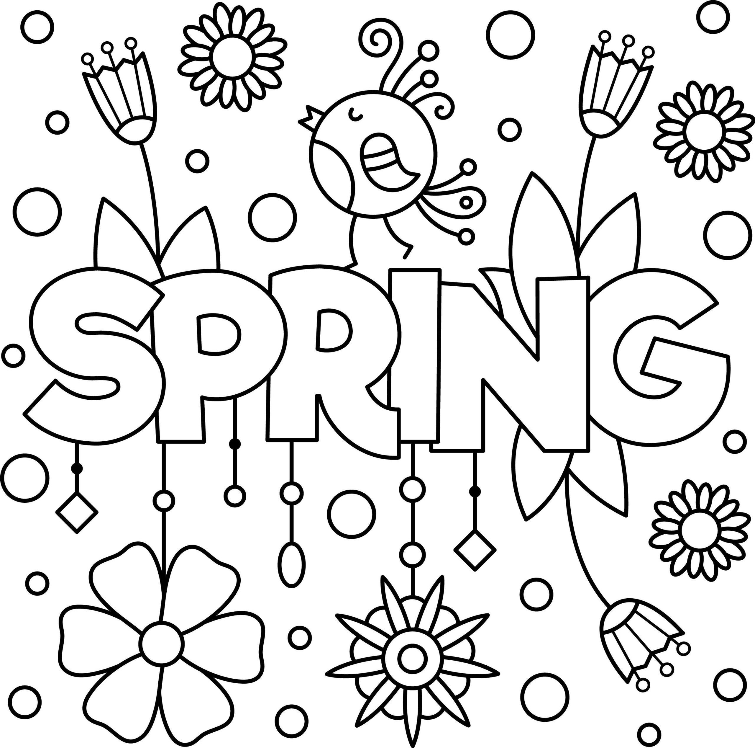 Tranh tô màu mùa xuân đơn giản