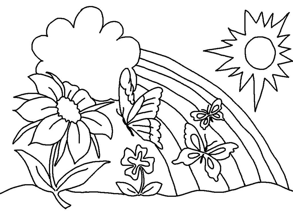 Tranh tô màu mùa xuân tươi sáng đơn giản
