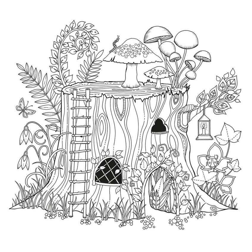 Tranh tô màu ngôi nhà mùa xuân cực đẹp
