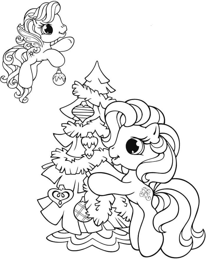 Tranh tô màu ngựa Pony đón giáng sinh