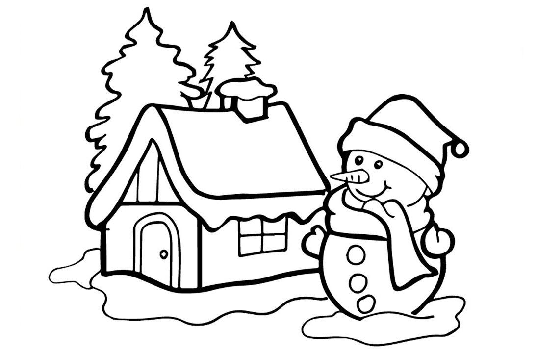 Tranh tô màu người tuyết Noel