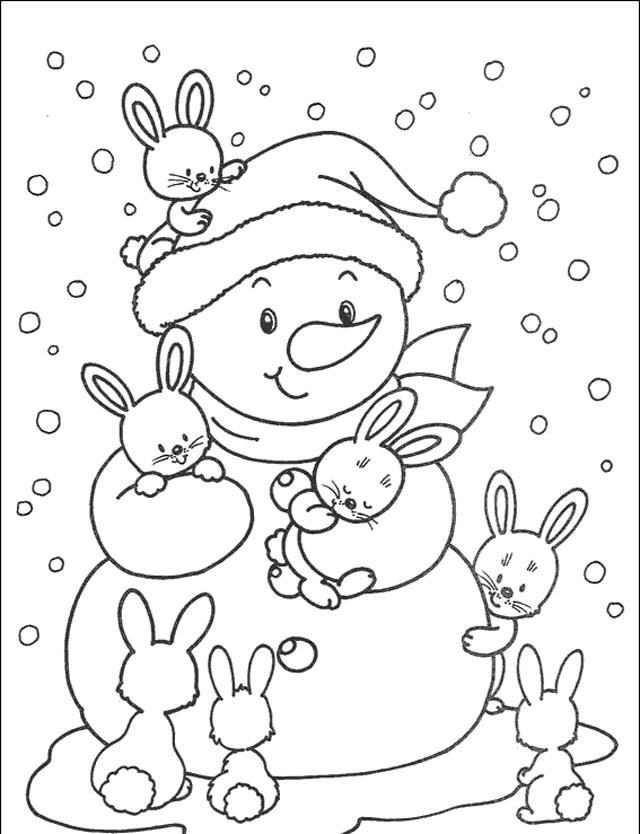 Tranh tô màu người tuyết và những chú thỏ con