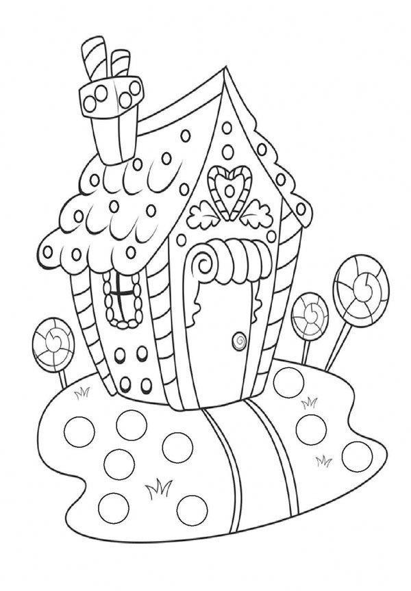 Tranh tô màu nhà kẹo giáng sinh