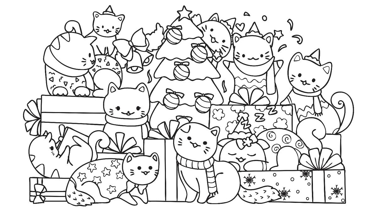 Tranh tô màu những chú mèo giáng sinh