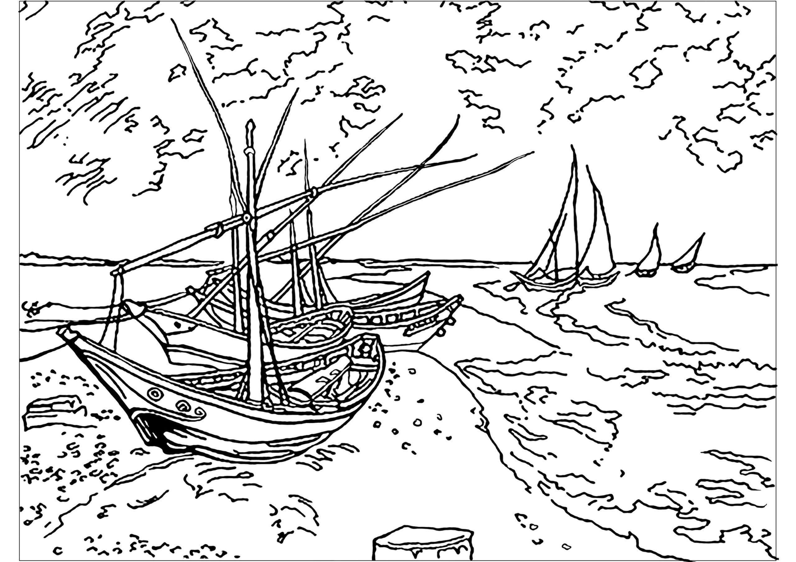 Tranh tô màu những con tàu ra khơi