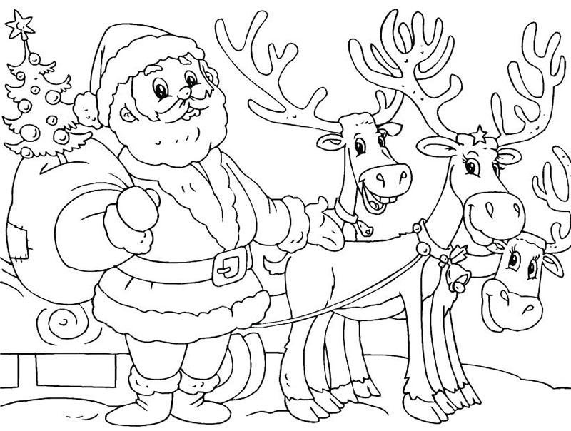 Tranh tô màu ông già Noel chuẩn bị đi phát quà