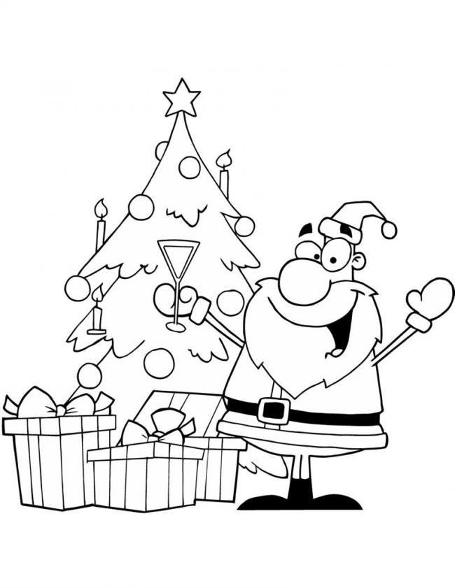 Tranh tô màu ông già Noel nâng ly chúc mừng giáng sinh