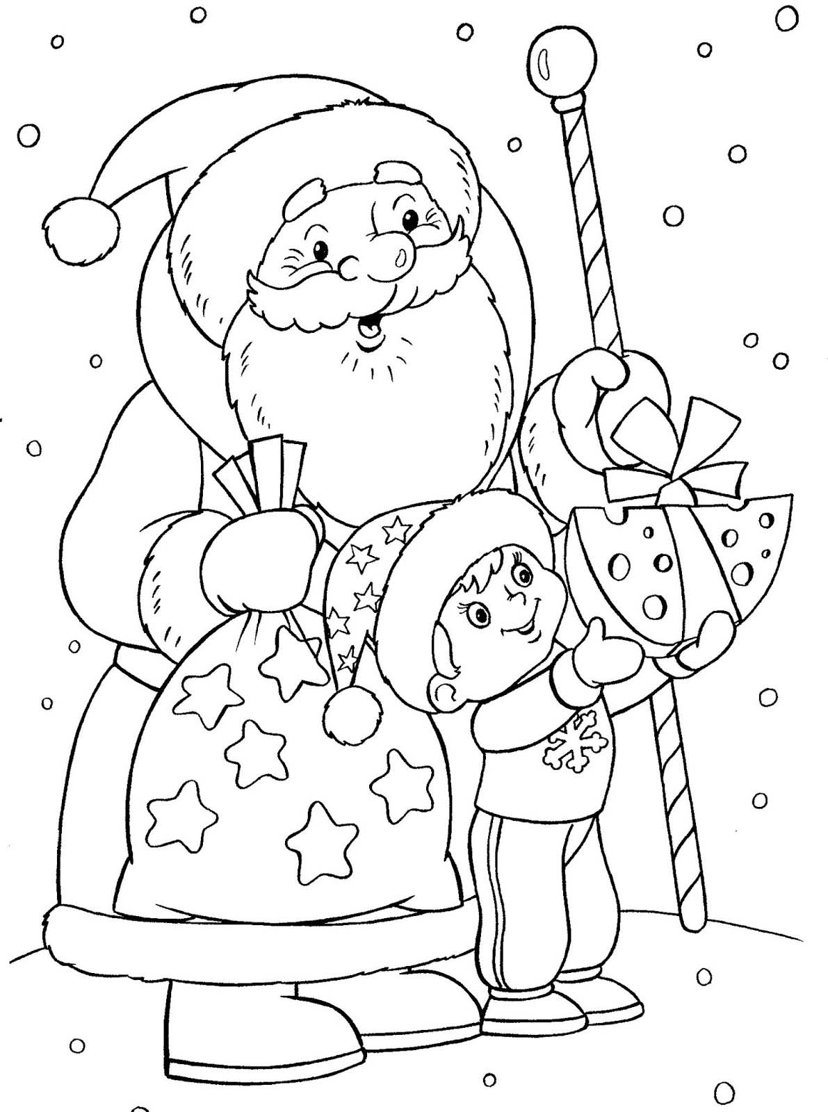 Tranh tô màu ông già Noel tặng quà cho bé