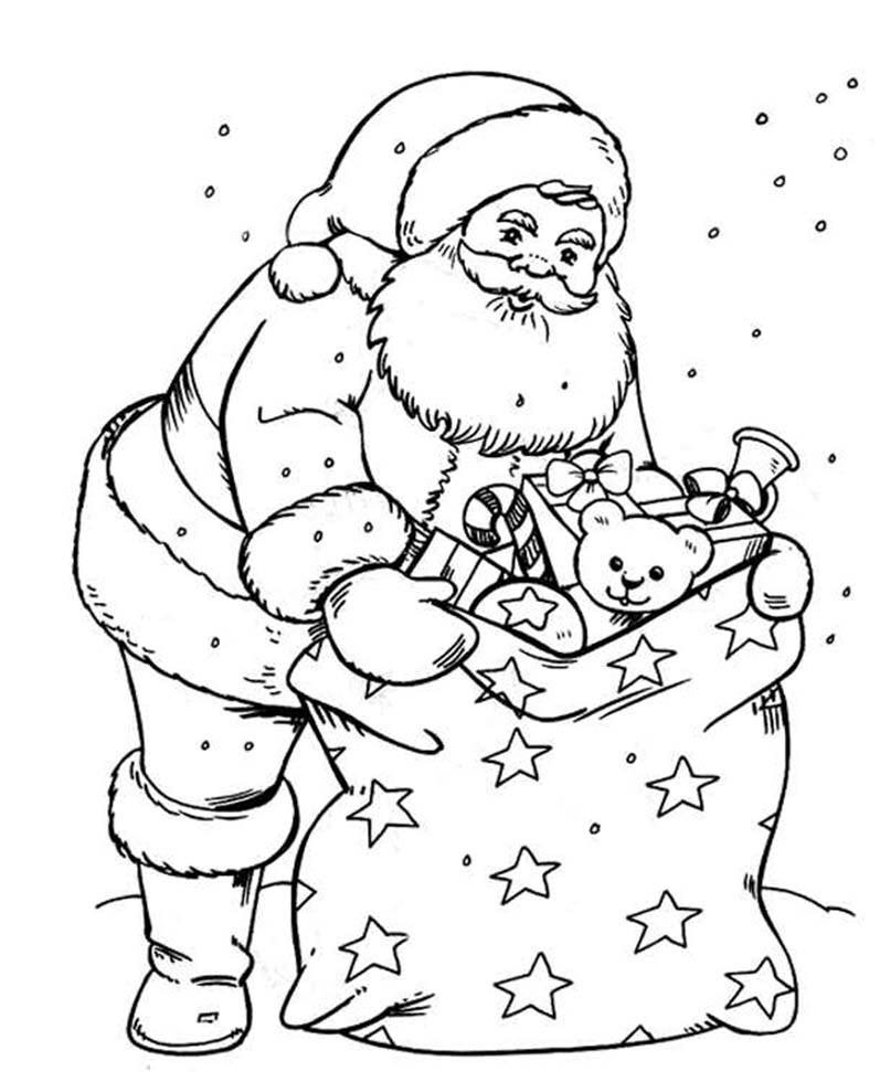 Tranh tô màu ông già Noel và túi quà giáng sinh