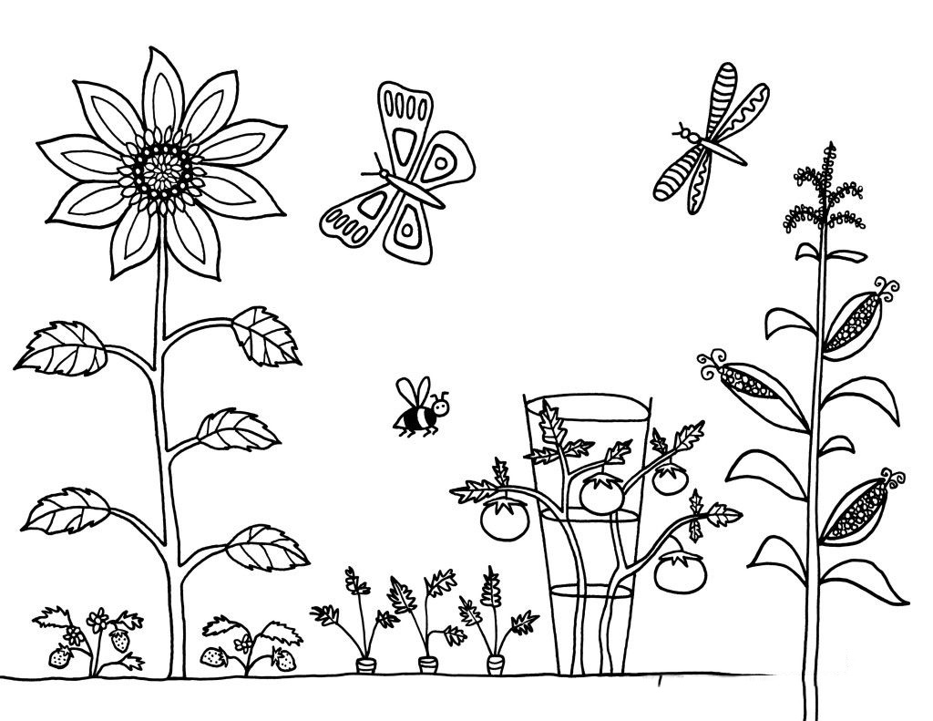 Tranh tô màu phong cảnh mùa xuân cho bé