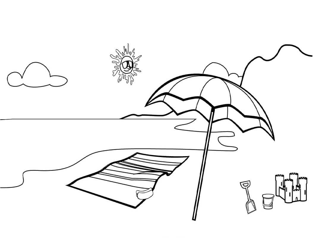 Tranh tô màu tấm thảm trên bãi biển