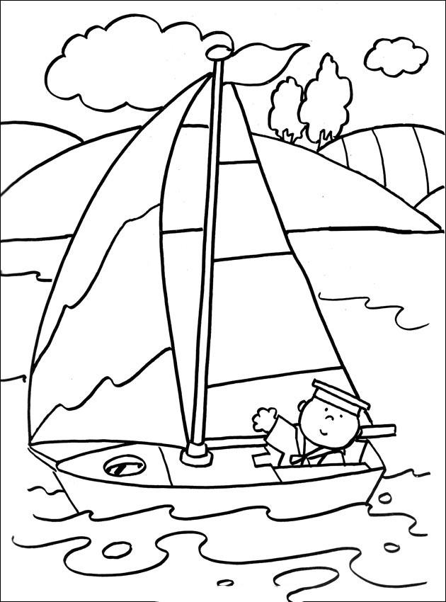 Tranh tô màu thuyền buồm trên biển