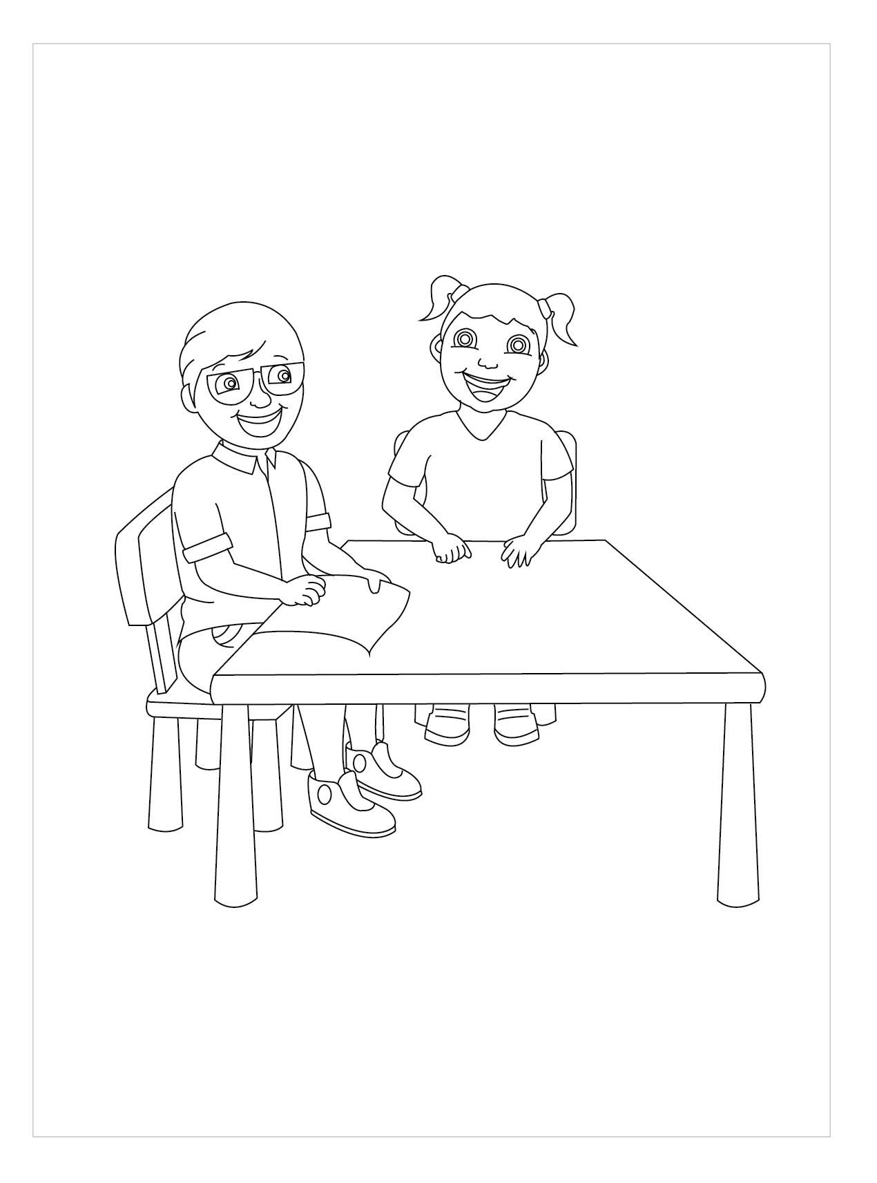 Tranh tô màu trẻ em ngồi bên bàn