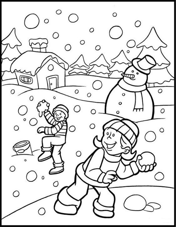 Tranh tô màu trẻ em vui chơi ngày giáng sinh