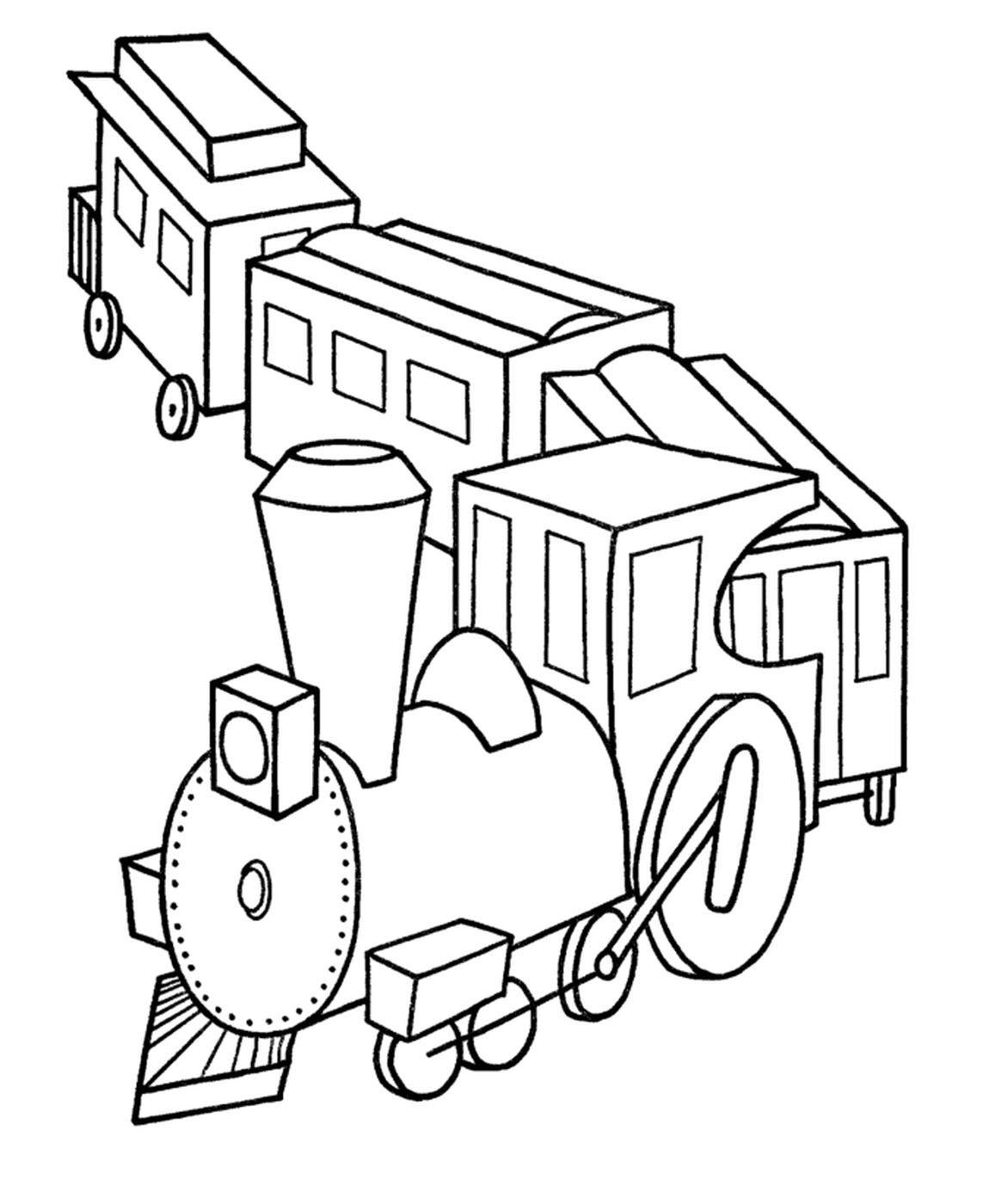 Tranh tô màu xe lửa chở hàng