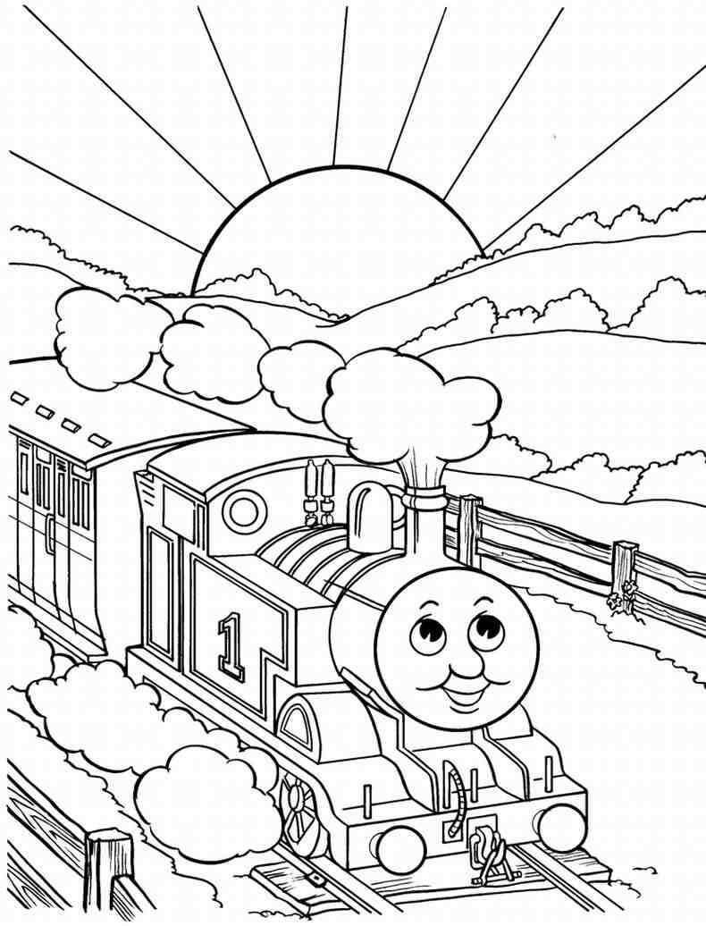 Tranh tô màu xe lửa đang chạy