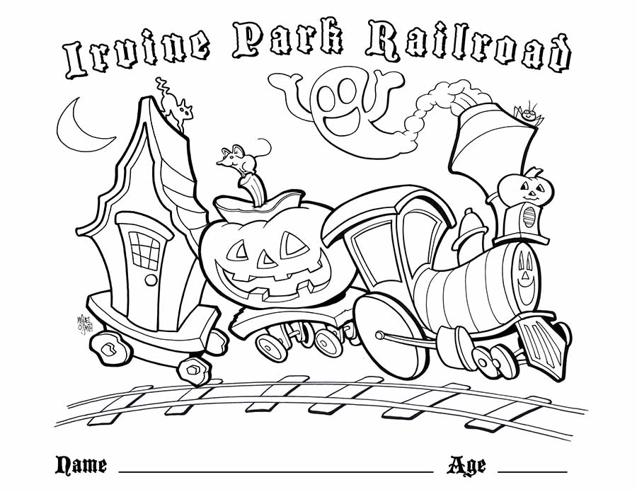 Tranh tô màu xe lửa Halloween
