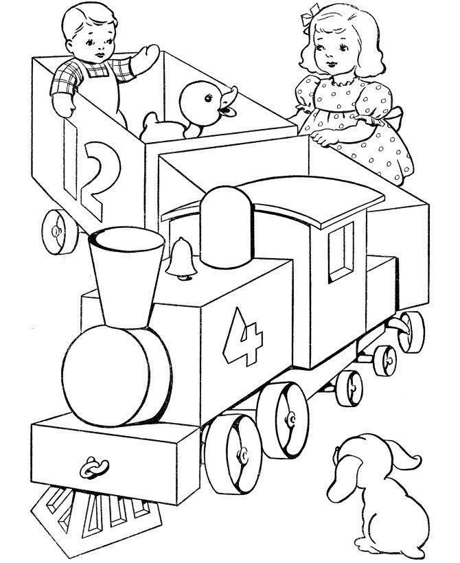Tranh tô màu xe lửa và bé