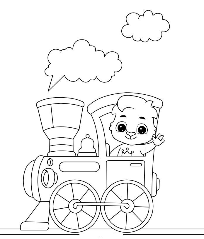 Tranh tô màu xe lửa và chú gấu dễ thương